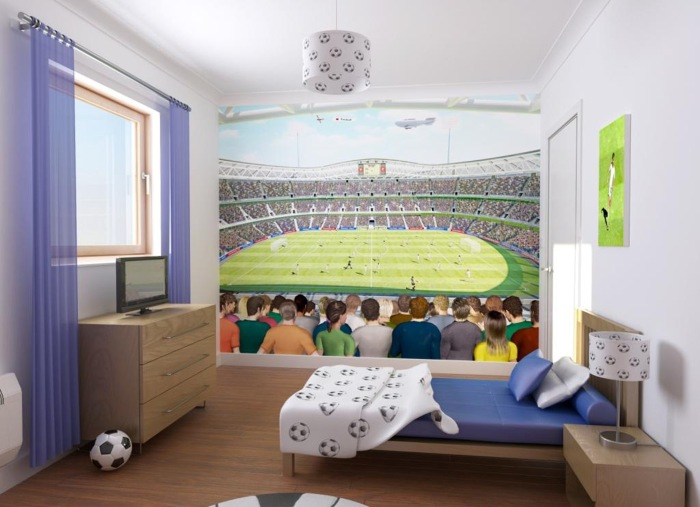 bedroom for a football  fan